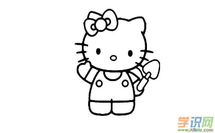 有一只小猫,有嘴巴(作者已经表示有嘴巴了),脸蛋圆圆的,左耳上扎着一个蝴蝶结,还有一截小尾巴,她的名字叫堤提猫 (Hello Kitty)。Hello Kitty是日本著名卡通萌星,还有个双胞胎姐妹。下面是学识网小编为你带来的hello kitty简笔画,欢迎欣赏学习。 hello kitty简笔画