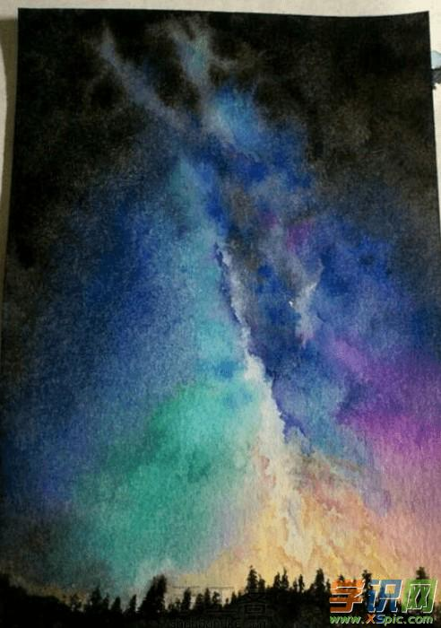水彩颜料    所需工具:    水彩笔刷子    制作步骤:    星空水彩