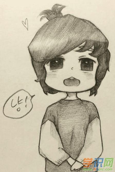 q版动漫人物铅笔画_q版动漫人物素描图片