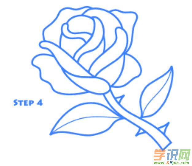 玫瑰花简笔画画法步骤3