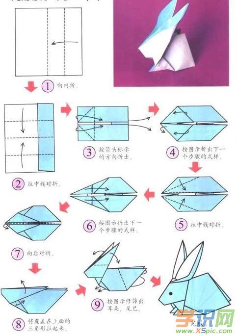 简单的幼儿手工折纸兔子教程图解