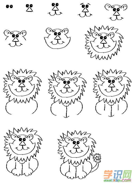 狮子简笔画步骤二