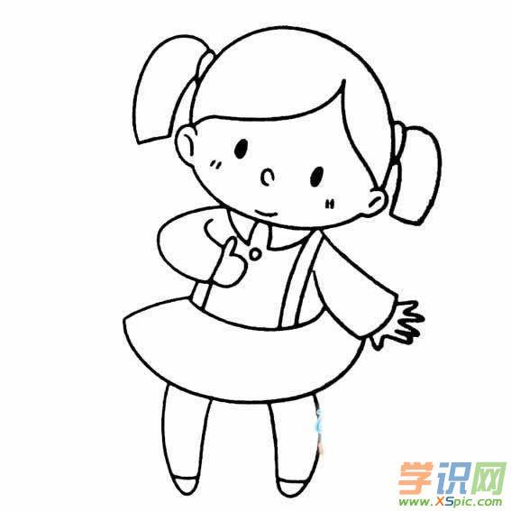 小女孩简笔画怎么画 小女孩简笔画步骤 2