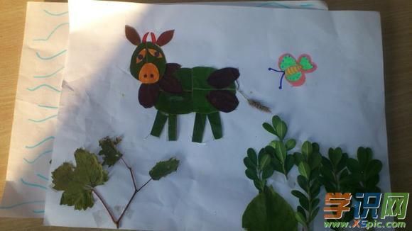 小学生简单有漂亮树叶粘贴画图片大全
