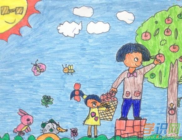 小学蜡笔画画图片5:摘苹果