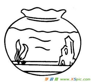 鱼缸的简笔画图片图片