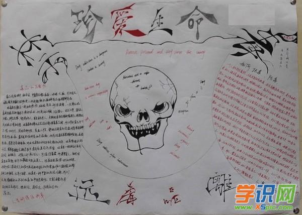 有关于小学生防毒手抄报的版式设计