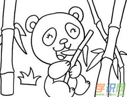 儿童画熊猫吃竹子画油画棒