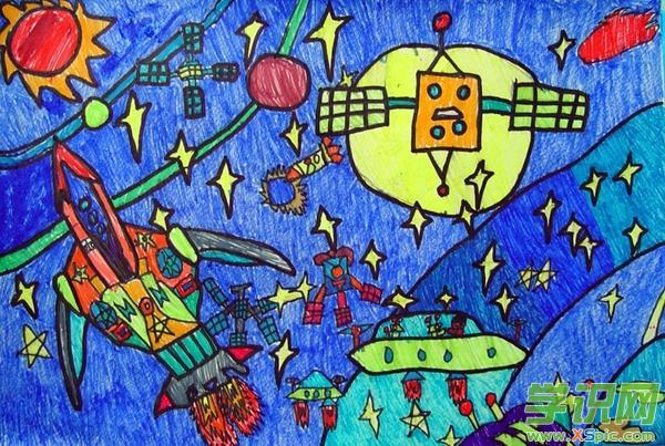 关于太空的科技绘画作品