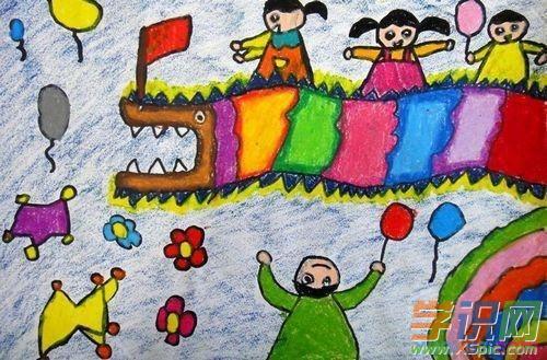 儿童画欢度春节儿童画 春节和小伙伴舞龙狮 六一儿童网