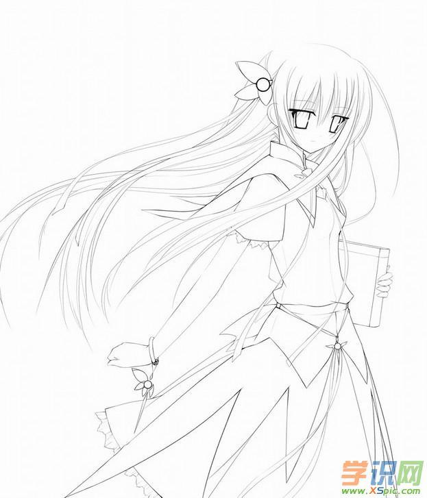 可爱动漫少女铅笔画_可爱动漫图片铅笔画