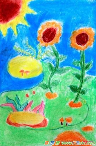 儿童画油画棒风景画图片大全