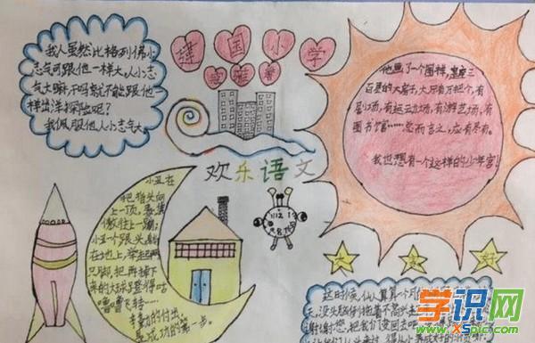 漂亮简单的四年级语文手抄报模板素材图片