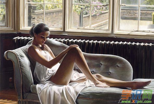 超写实油画女人体作品