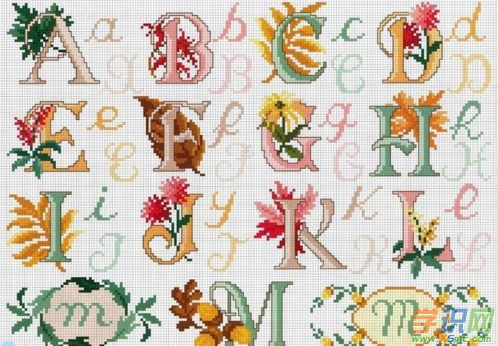 26个字母十字绣图案是很有创意的十字绣作品,26个字母看似简单,但