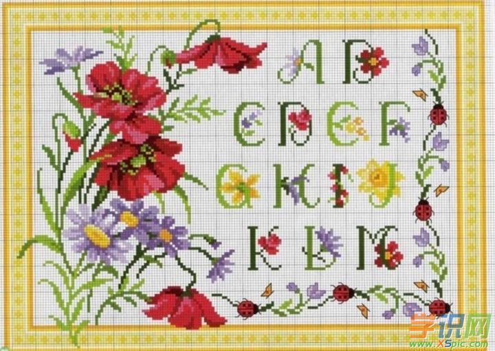 26个字母十字绣图案大全_(12幅)创意字母十字绣图片
