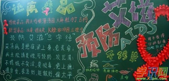关于图文预防艾滋病的黑板报内容平面龚奇骏高中设计师图片