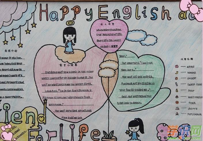 小学一年级英语手抄报版面设计图