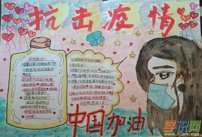 2020防控疫情手抄报简单图片_关于疫情的画画作品学生