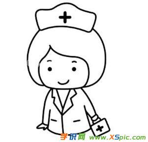 护士的儿童画绘画步骤图片