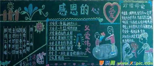 整洁漂亮感恩父母的黑板报资料