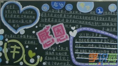 超美觀超簡單感恩父母的黑板報