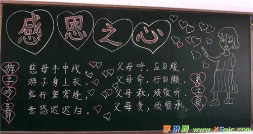 美观好看感恩父母的黑板报资料