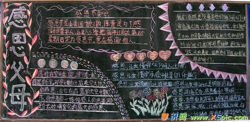 唯美创意感恩父母黑板报模板资料