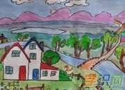 关于校园的油画棒图片