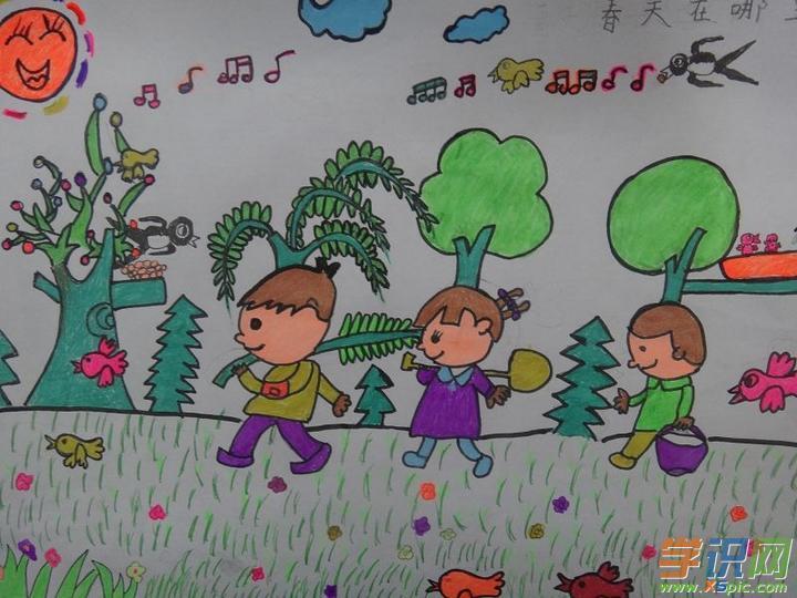春天简笔画图片大全    3.小学生春天来了绘画作品图片大全    4.