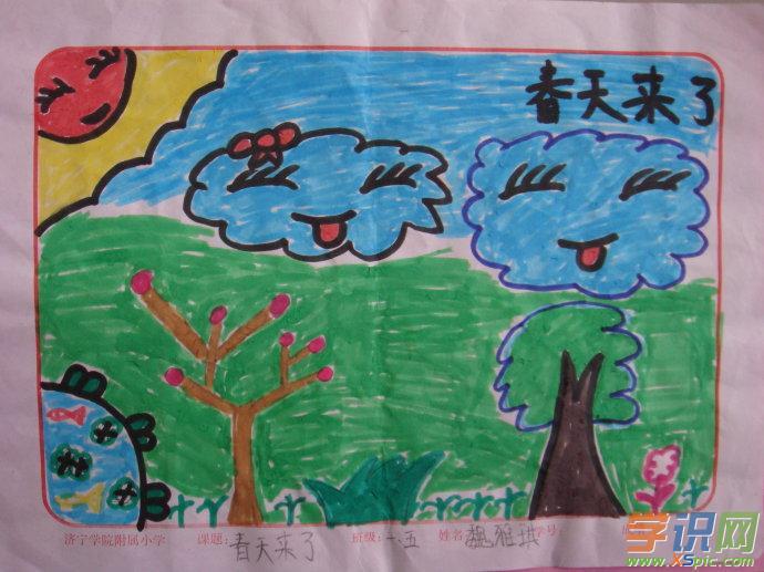 一年级画春天的图画一年级关于春天的图画小学一年级春天