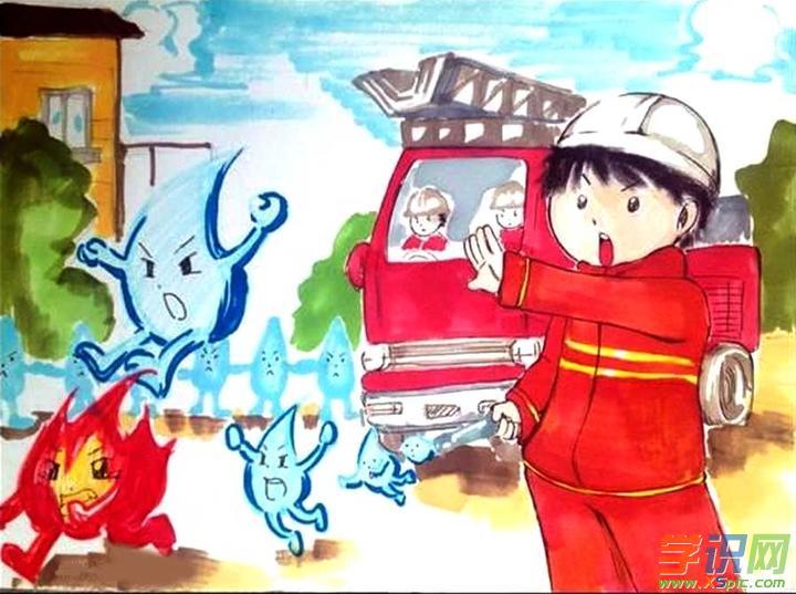 关于消防安全绘画图片大全  3.消防安全主题绘画作品  4.图片