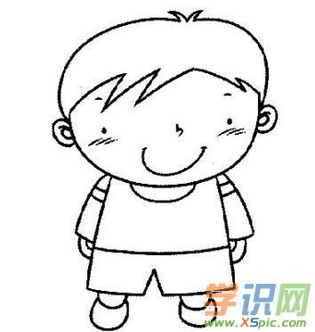 卡通小男孩简笔画图片