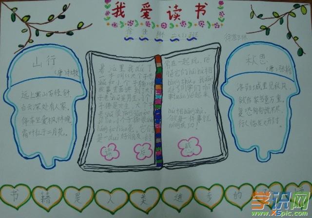 小学生读书手抄报模板免费下载图片