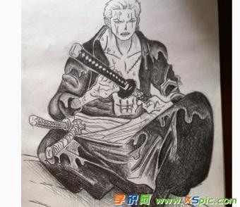 海贼王素描索隆铅笔画图片