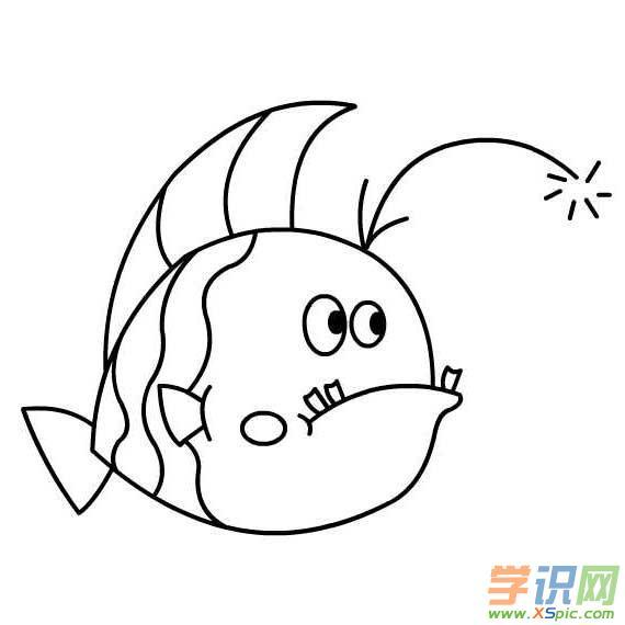 儿童简笔画动物鱼  7.儿童简笔画小猫钓鱼故事的画法