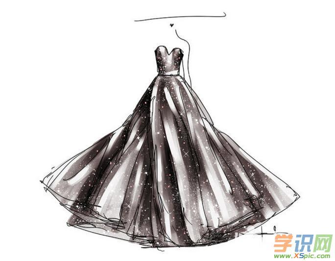 服装设计图手稿铅笔画图片_手绘素描衣服设计图