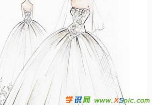 服装设计图手稿铅笔画图片 手绘素描衣服设计图