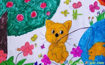 小猫钓鱼绘画作品图片