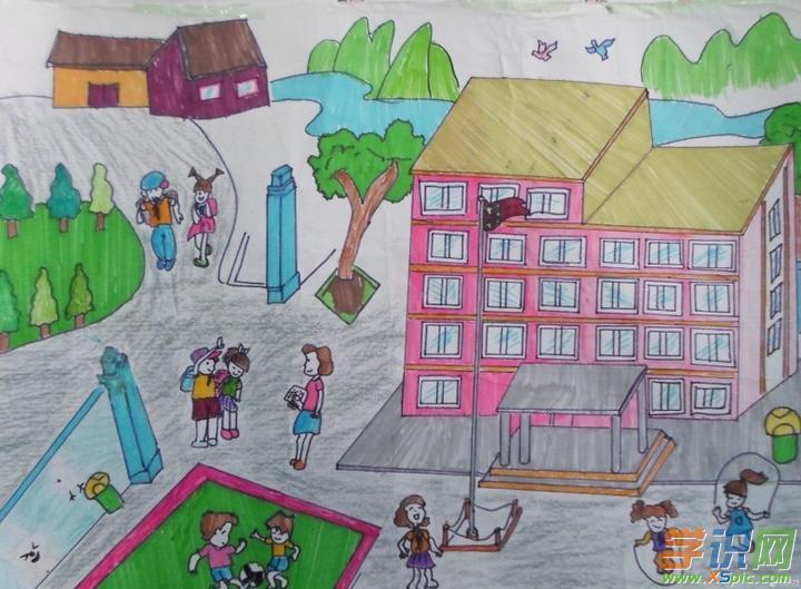 我心中美丽的校园绘画作品