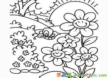 美丽的花园简笔画图片 简单好看的花园简笔画图片