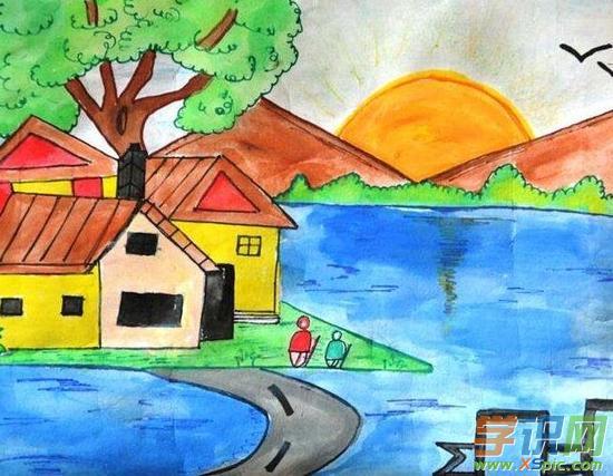 春天的风景儿童画作品欣赏