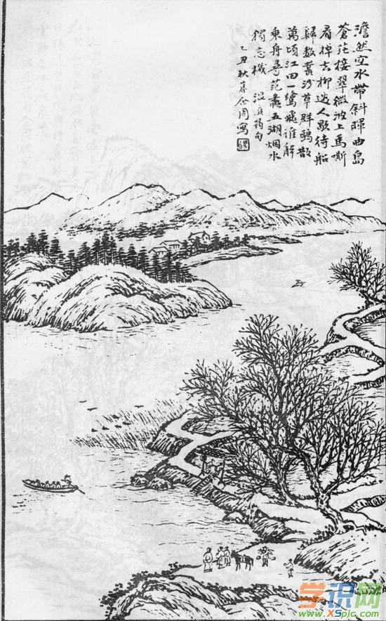 工笔画白描风景图片  5.白描山水画作品欣赏
