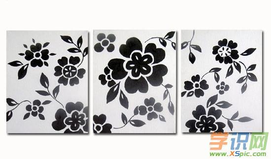 花卉装饰画黑白图片欣赏
