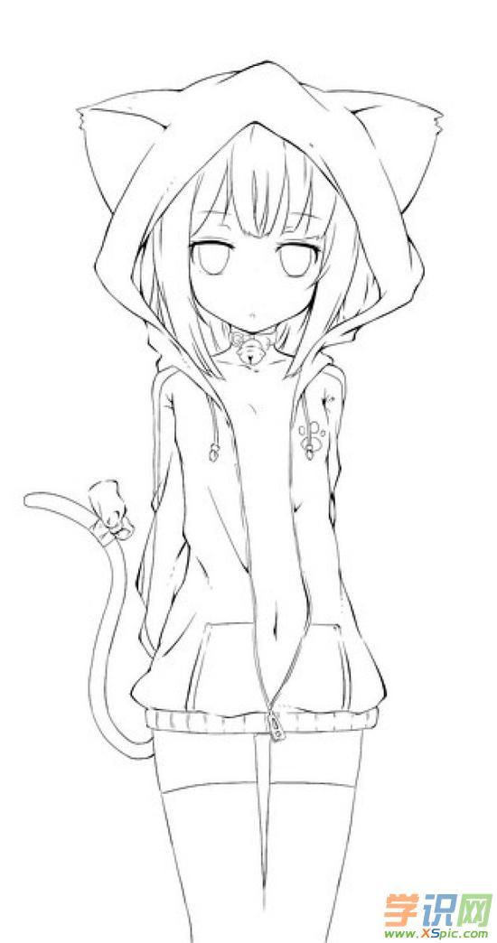 动漫少女铅笔画图片