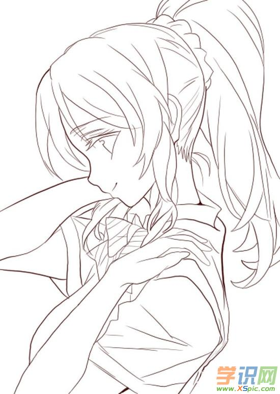 手绘动漫少女铅笔画简单图片