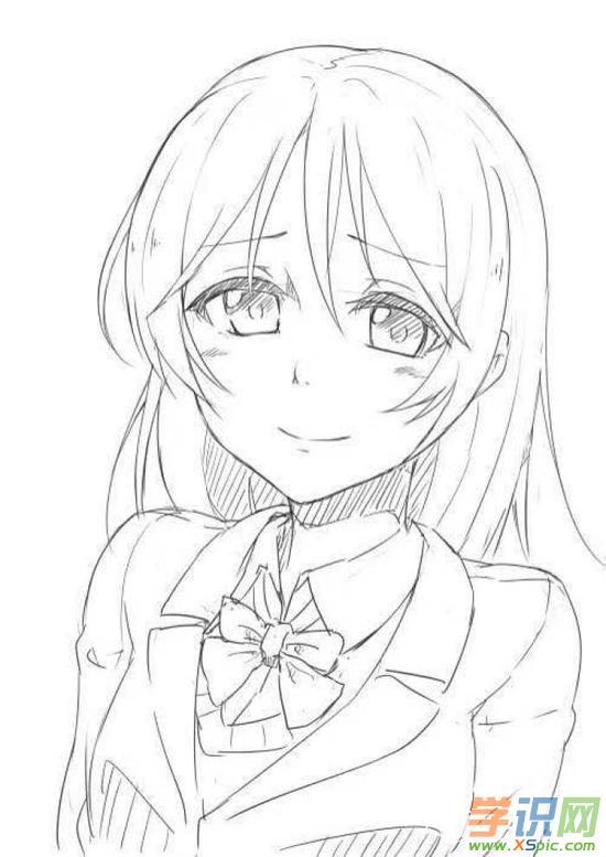 简单动漫女孩素描画_动漫女孩素描画作品