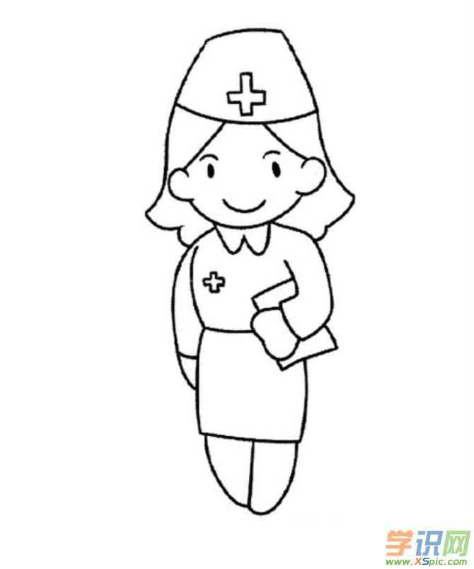 护士简笔画步骤图