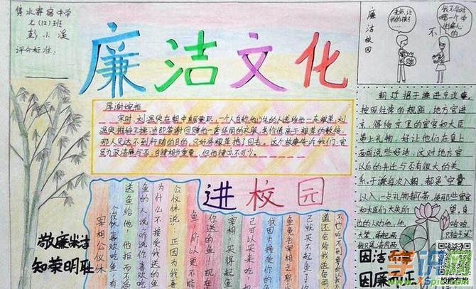 廉政文化手抄报初中  4.小学廉政文化手抄报素材  5.