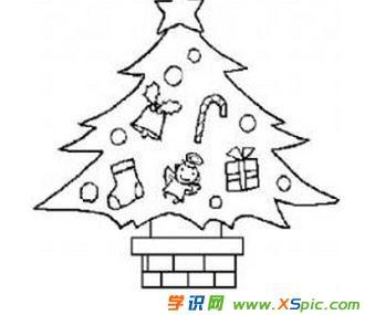 圣诞树装饰简笔画图案图片